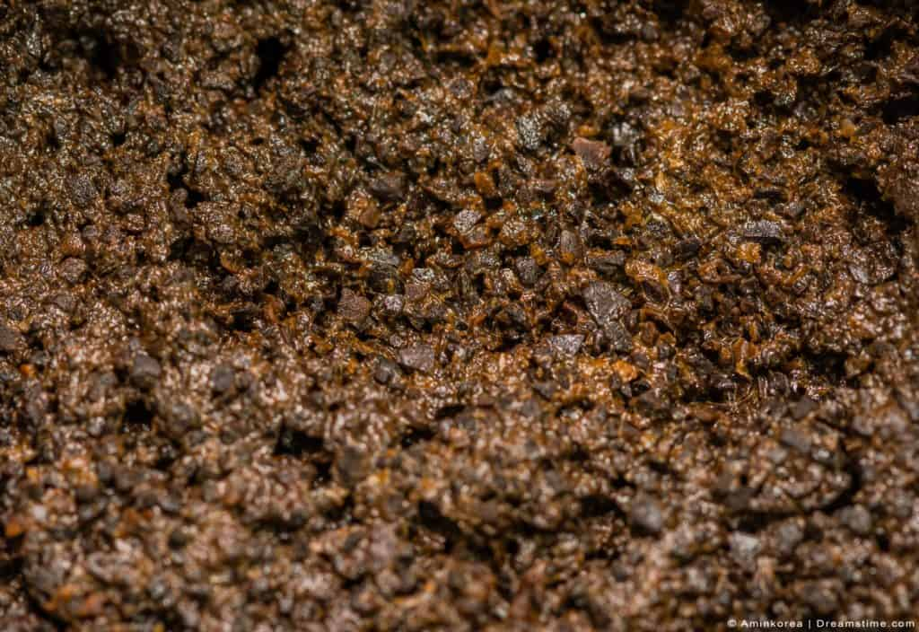 Close up of used coffee grounds.