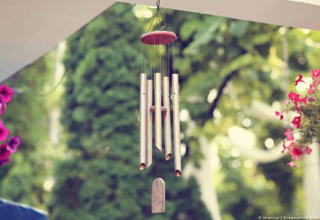 Wind Chimes Hanging On Porch
