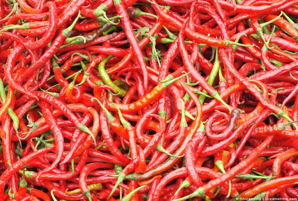 Up Close Shot of Cayenne Peppers